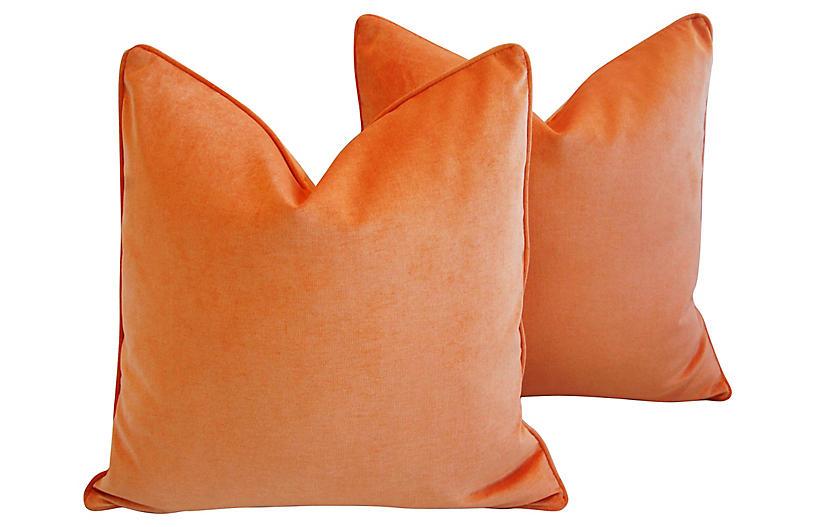 Tangerine Orange Velvet Pillows, Pair