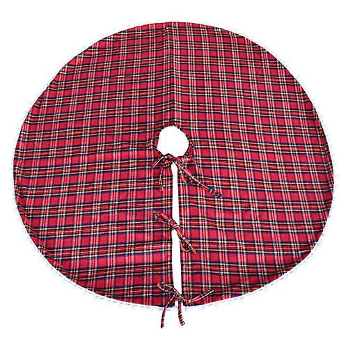 """55"""" Tartan Pom-Pom Christmas Tree Skirt"""