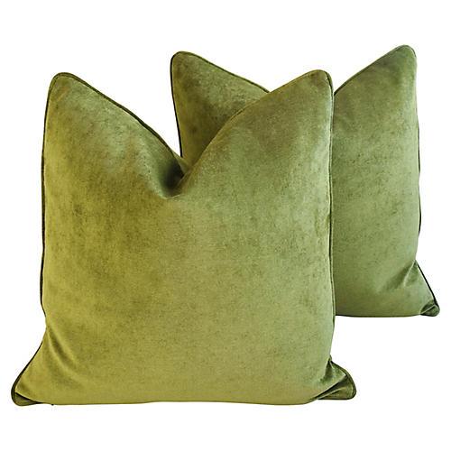 Rich Forest Green Velvet Pillows, Pair