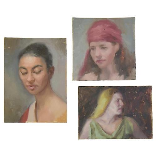 Female Portrait Oil Painting Study, S/3