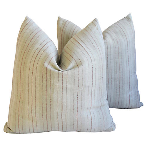 French Tan/Red Linen Striped Pillows, Pr