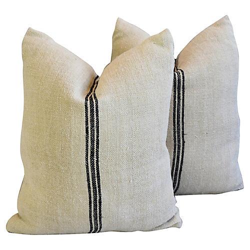French Homespun Grain Sack Pillows, Pr