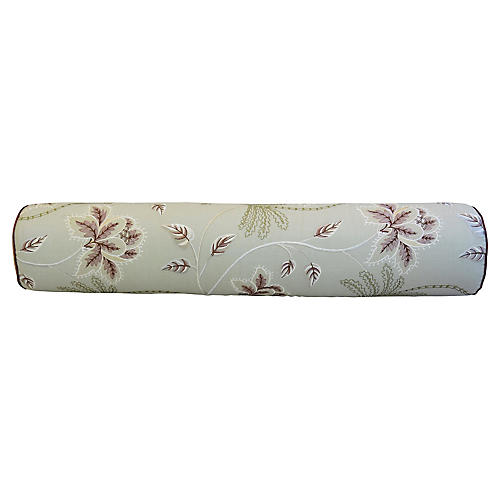 English Embroidered Linen Bolster Pillow