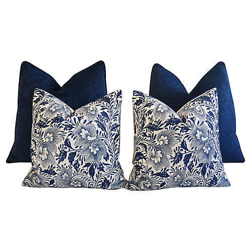 Blue Velvet & Floral Pillows, S/4