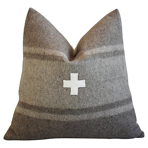 Italian Appliqué Cross Wool/Linen Pillow