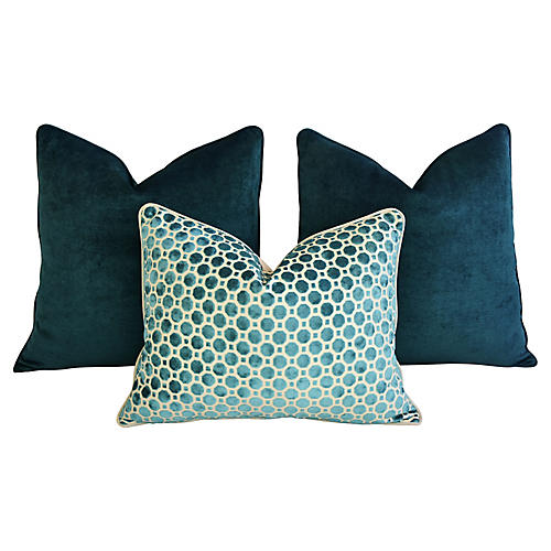 Marine Turquoise Velvet Pillows, S/3