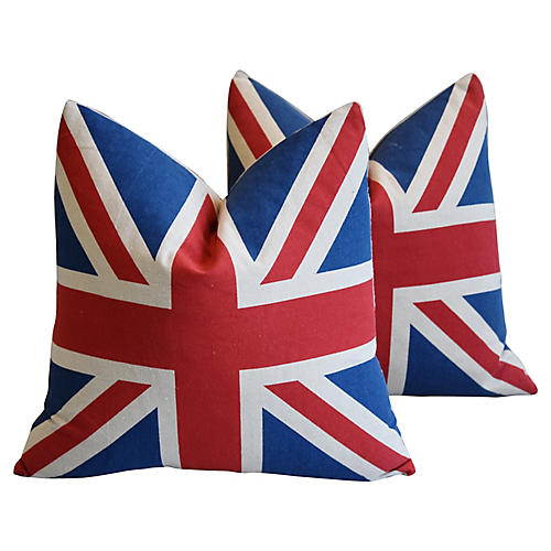 British Union Jack Flag Pillows, Pair