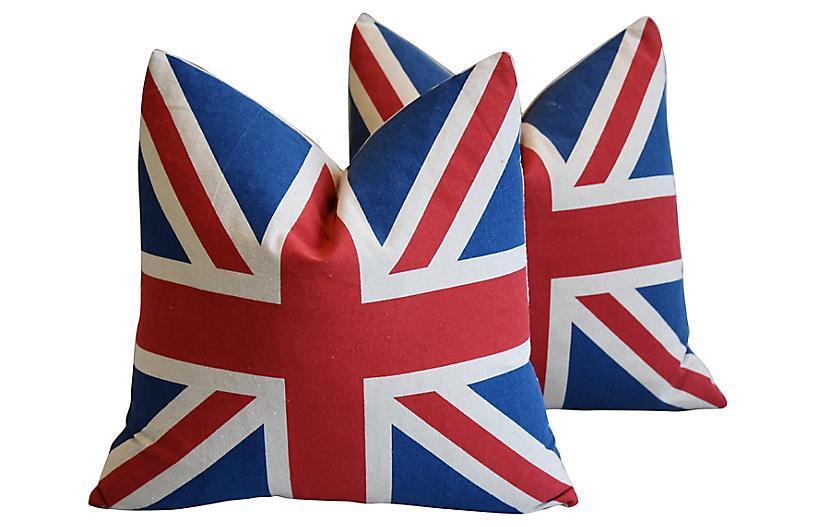 British Union Jack Flag Pillows, Pair