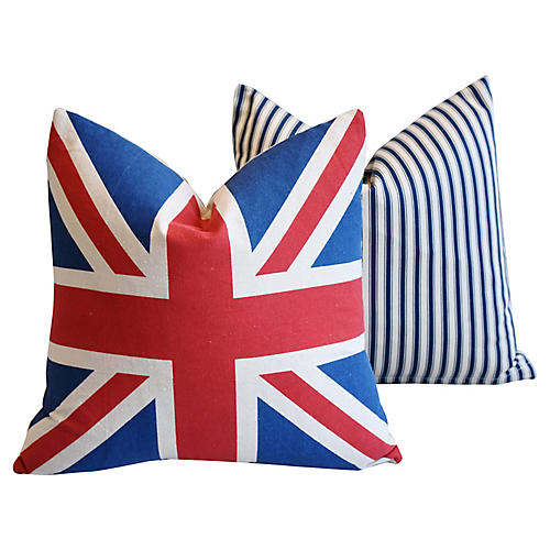 French Ticking & Union Jack Pillows, S/2