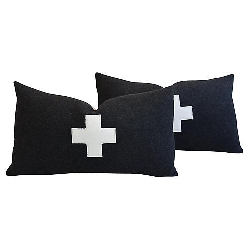 Charcoal Appliqué Cross Wool Pillows, Pr