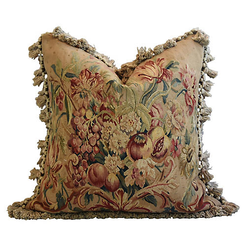 Floral Aubusson Wool & Velvet Pillow