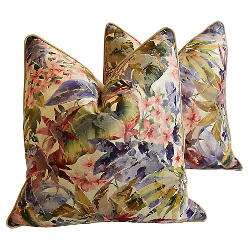 Tropical Floral Cotton/Silk Pillows, Pr