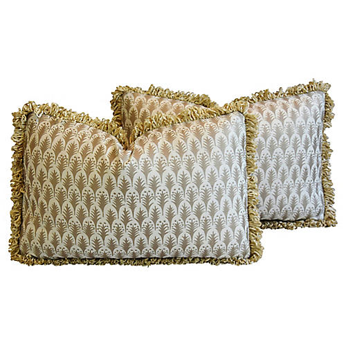 Silvery/Gold Mariano Fortuny Pillows, Pr