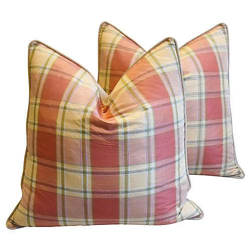 Brunschwig & Fils Plaid Silk Pillows, Pr