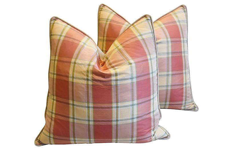 Brunschwig & Fils Plaid Silk Pillows, Pr