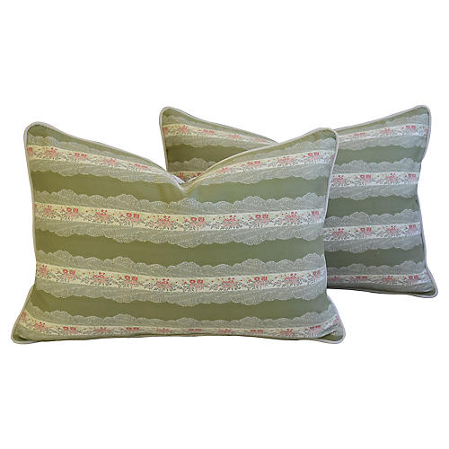 Scalamandré Floral Lampas Pillows, Pair