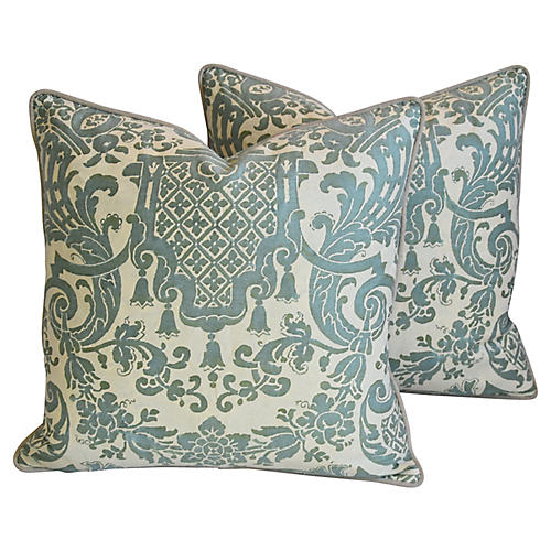 Italian Fortuny Carnavalet Pillows, Pair