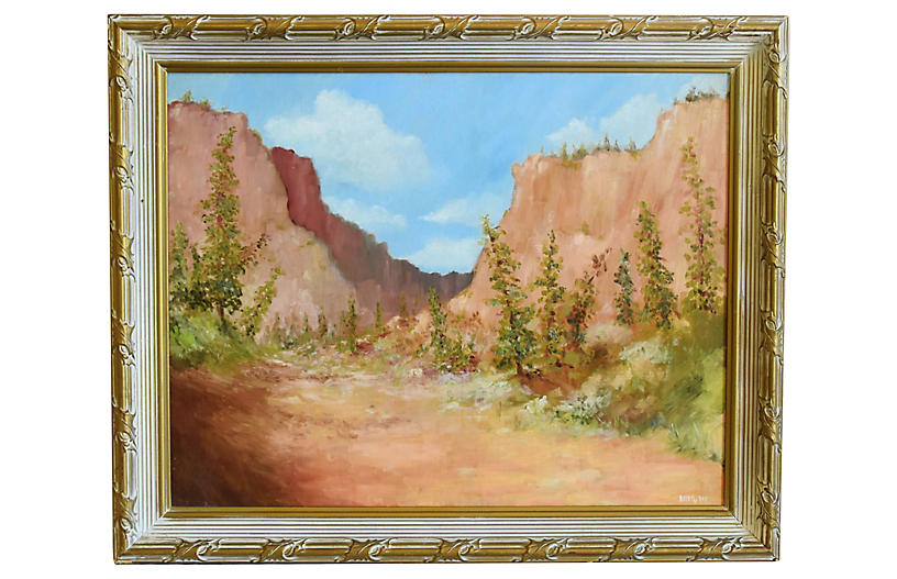 Mountain Canyon Landscape Oil Painting