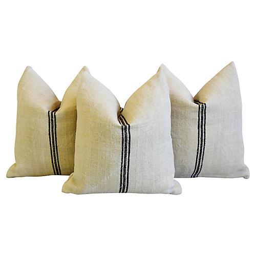French Black Stripe Textile Pillows, S/3