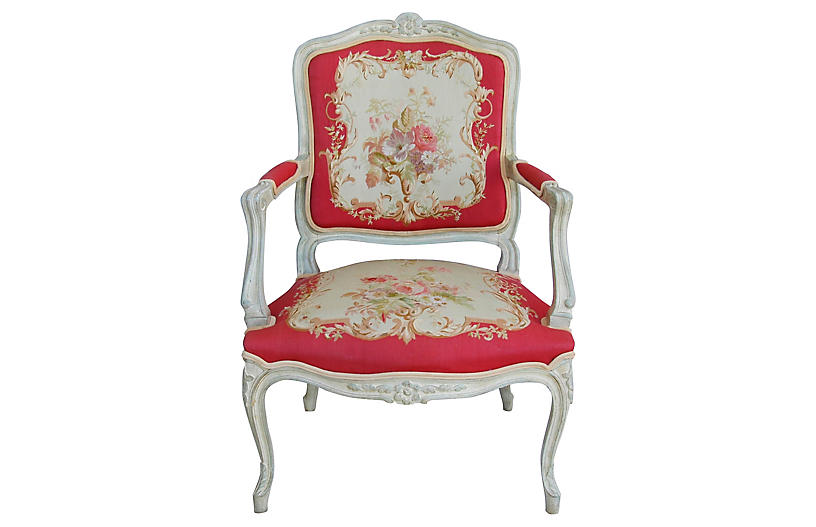 French Louis XV-Style Needlepoint Chair