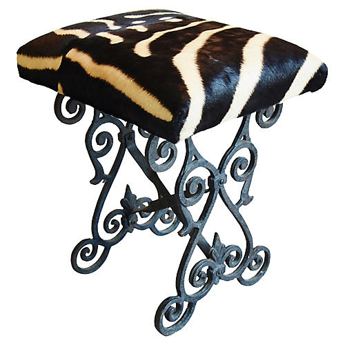 Zebra Hair-on-Hide & Iron Bench/Stool