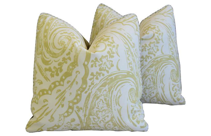Lee Jofa Paisley & Velvet Pillows, Pair