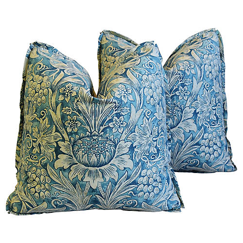 Morris & Co Sunflower Linen Pillows, Pr