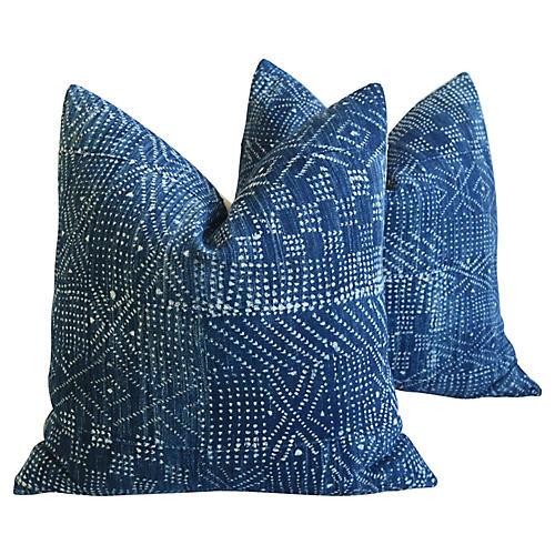 Indigo Blue & White Mali Pillows, Pair