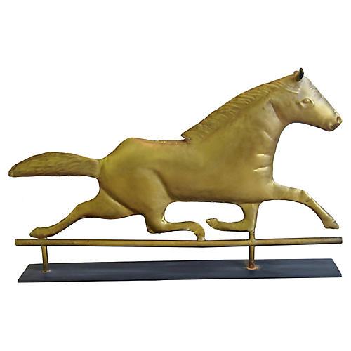 Brass Horse Weathervane w/ Stand