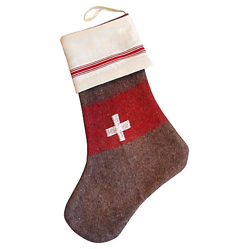 Swiss Wool Cross Christmas Stocking