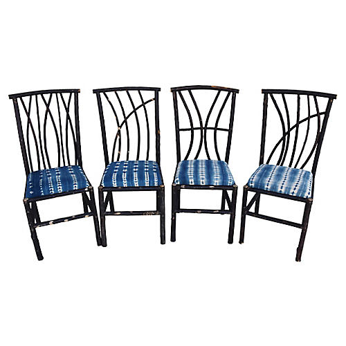 Bent Willow Chairs w/ Mali Fabric, S/4
