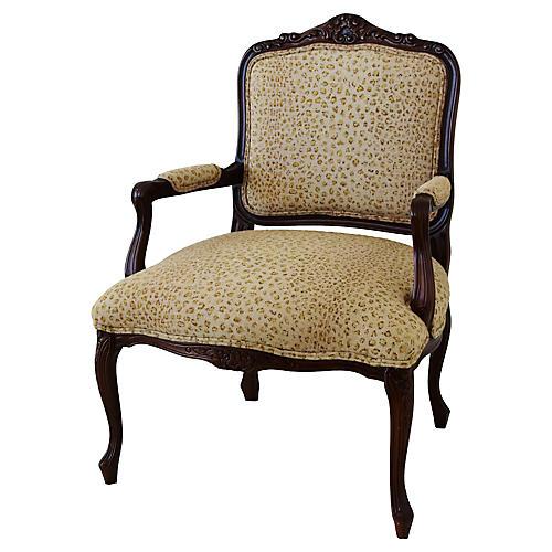 1950s Leopard Linen Armchair