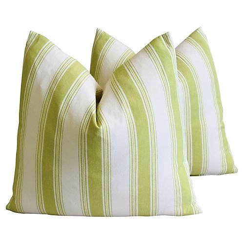 French Green & White Striped Pillows, Pr