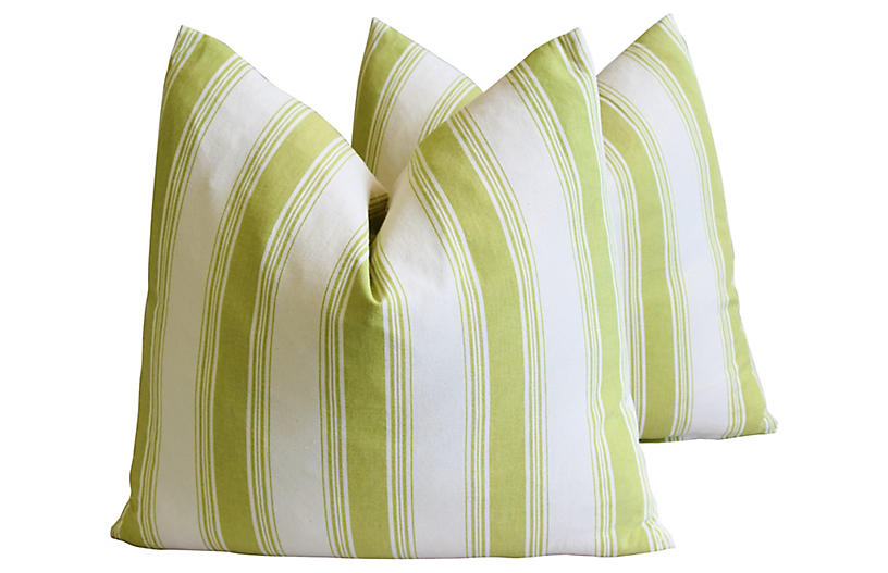 French Green & White Striped Pillows, Pr