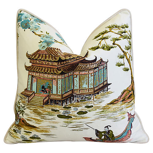 Chinoiserie Tea House Silk/Velvet Pillow