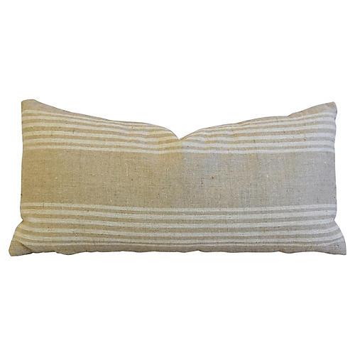 Tan & White French Ticking Lumbar Pillow