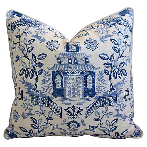 Blue & White Chinoiserie Pagoda Pillow