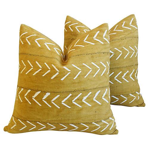 Gold & Cream Mali Tribal Pillows, Pair