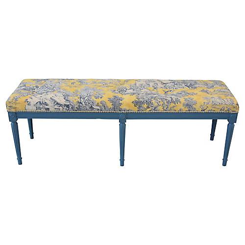 Yellow, White & Blue-Gray Toile Bench