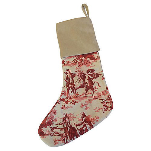 Toile & Velvet Christmas Stocking
