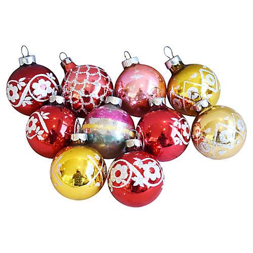 Fancy Christmas Ornaments w/Box, S/10