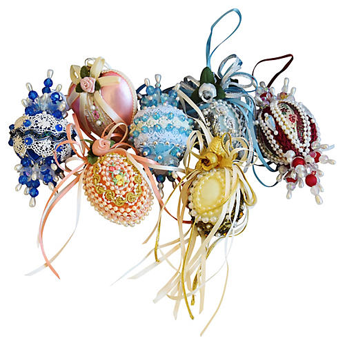 Fancy Beaded Christmas Ornaments S/7