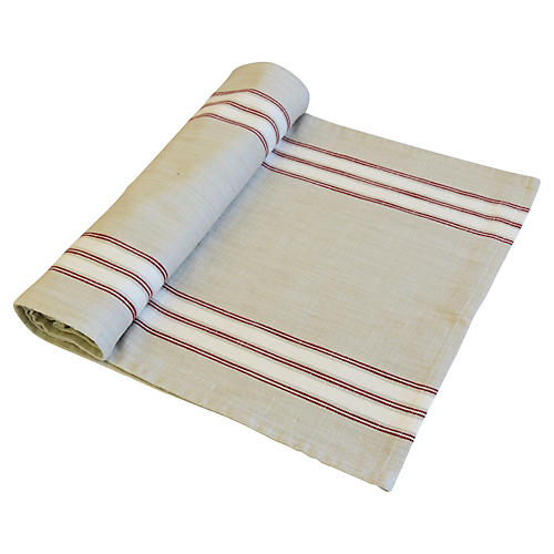 Farmhouse Red/White Stripe Table Runner