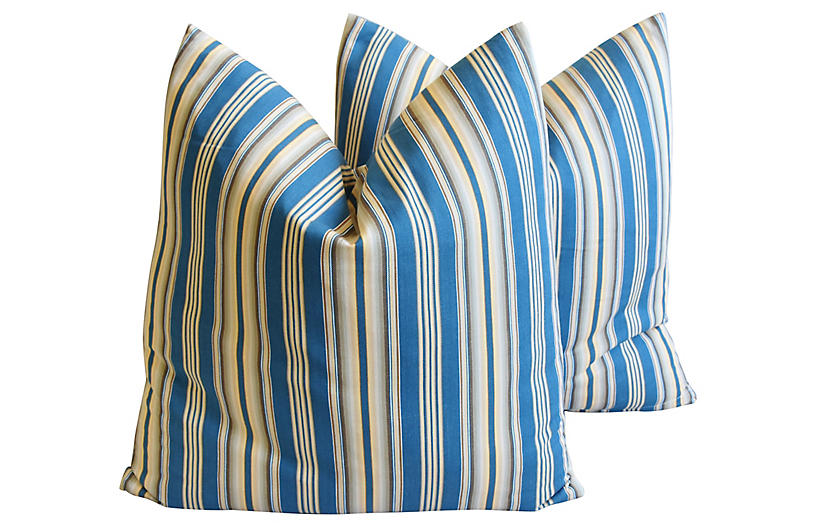 Blue & Cream Ticking Stripe Pillows, Pr