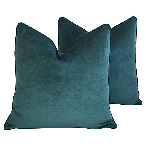 Emerald Velvet Pillows, Pair