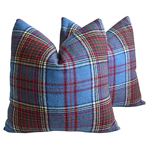 Scottish Tartan Plaid Wool Pillows, Pr