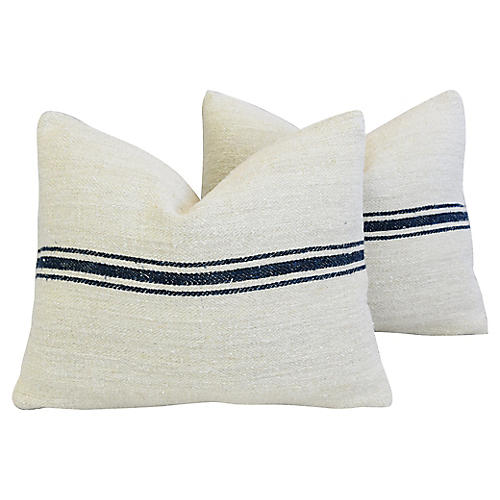 Navy Striped Grain-Sack Pillows, Pr