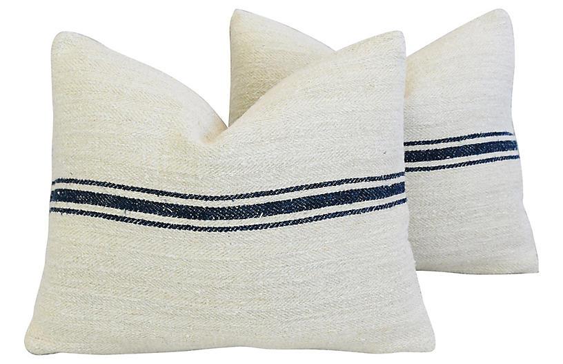Navy Striped Grain-Sack Pillows, Pr