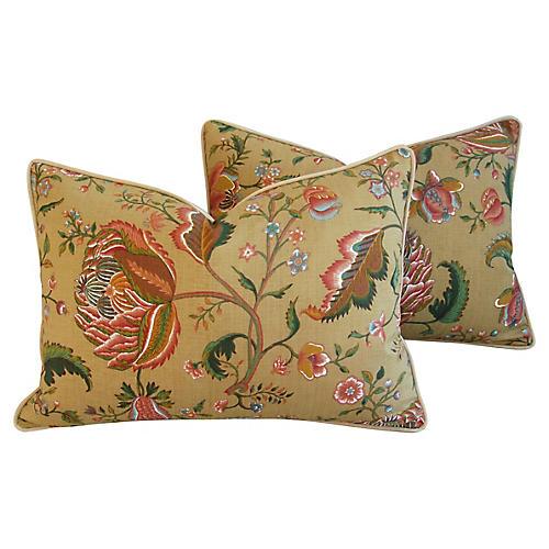 Brunschwig & Fils Floral Pillows, Pair