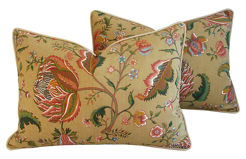 Brunschwig & Fils Floral Pillows, Pair